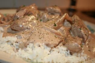 Crockpot Beef Stroganoff w/rice