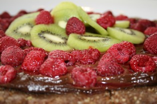 Raw food Date Nut Torte with Chocolate Moose and fruit